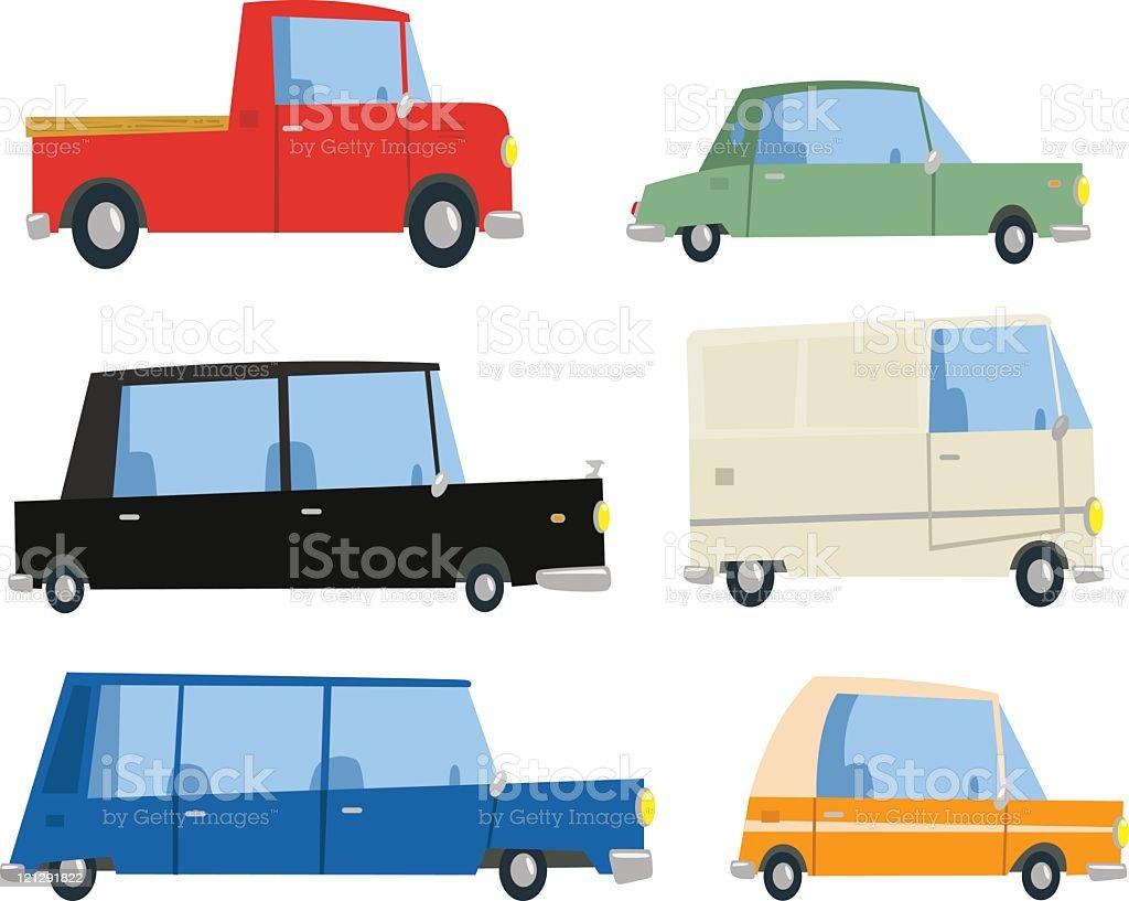 Six Cartoon Cars royalty-free stock vector art