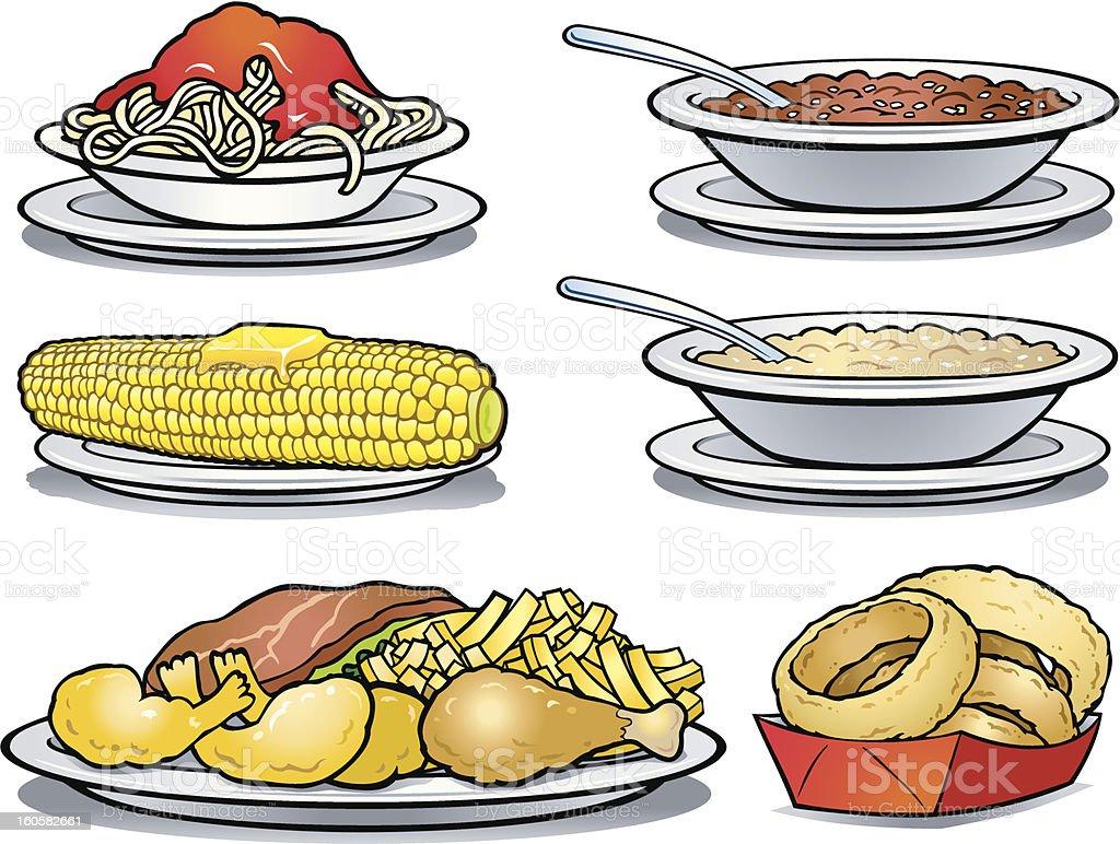 Six cartoon images of comfort foods royalty-free stock vector art