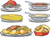 Six cartoon images of comfort foods