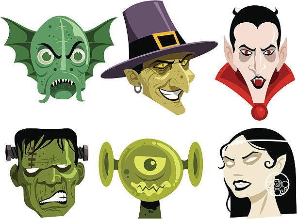 six cartoon monsters commonly seen during halloween - frankenstein stock illustrations