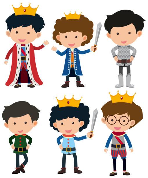 sechs zeichen des prinzen und ritter - prince stock-grafiken, -clipart, -cartoons und -symbole