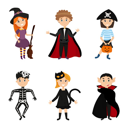 Six children in scary carnival costumes for Halloween. Cartoon kids illustration on Halloween