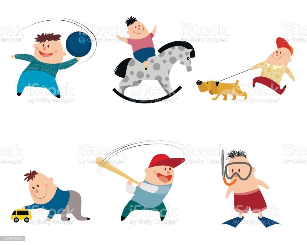 Six children set vector art illustration