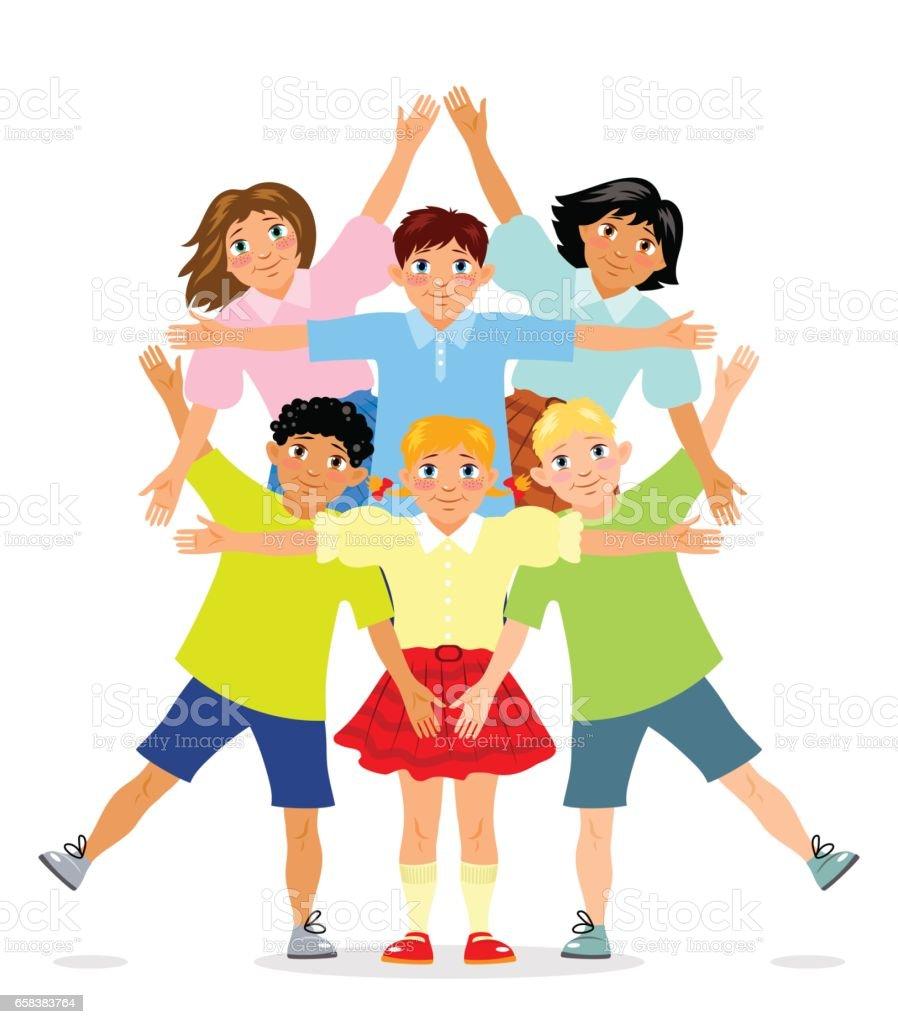 6 人の子供は立ってダビデの星の形で腕を入れます イスラエルの