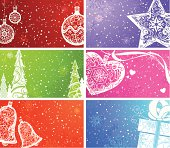 Colorful backgrounds with Christmas elements. The size of each background is 3,2x2 inch, as size of business card. There is blank space for your text. All objects are on separate layers.