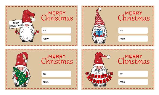 Six christmas tags. Christmas gnomes. Space for text