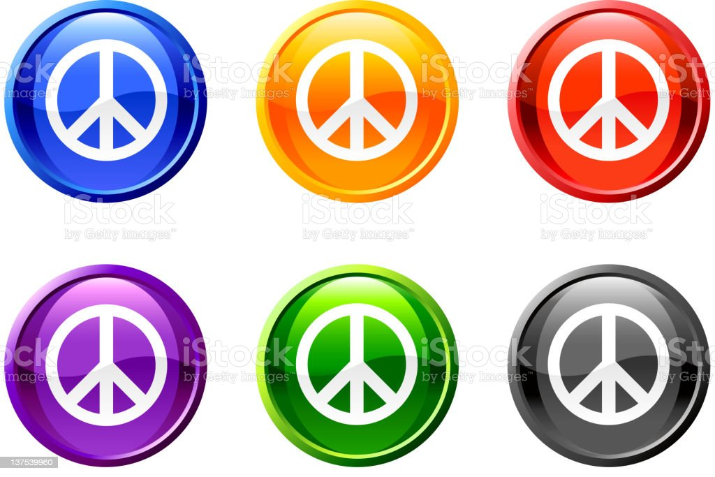 Six, circle multicolored icons with white peace symbol.  royalty-free stock vector art