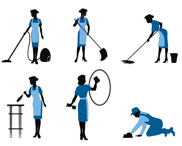 illustrazioni stock, clip art, cartoni animati e icone di tendenza di sei pulizia lavoratori - cameriera