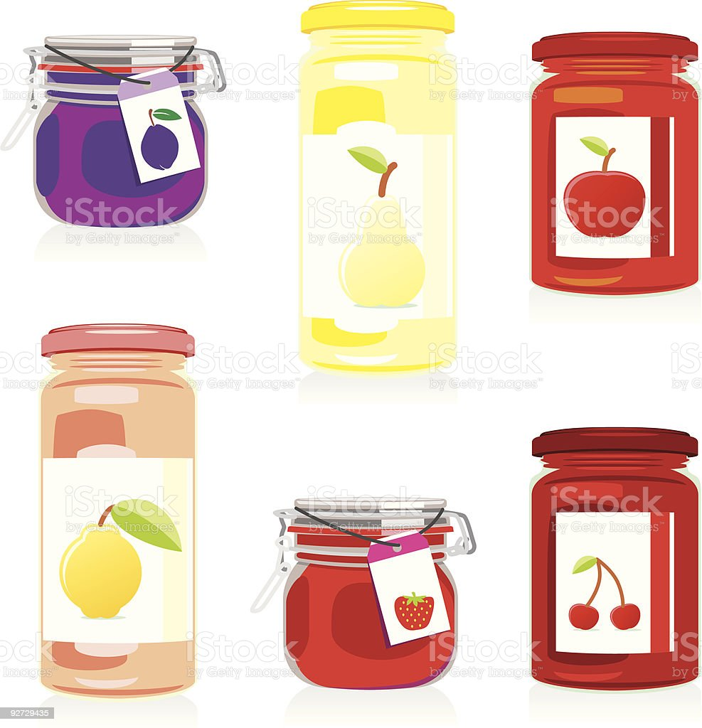 Six colored illustrations of jam jars with fruit labels royalty-free stock vector art