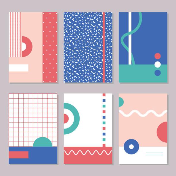 sechs bunte 90 - bauhaus stock-grafiken, -clipart, -cartoons und -symbole