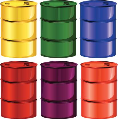 Six colorful barrels