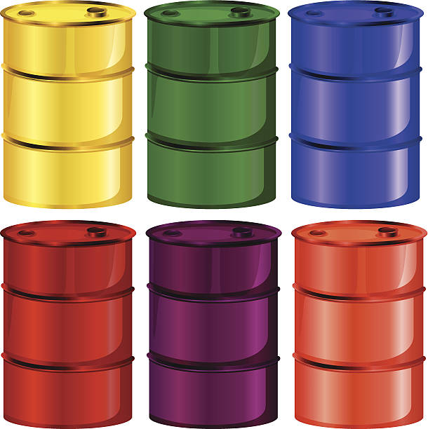 Six colorful barrels Illustration of the six colorful barrels on a white background oil drum stock illustrations