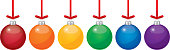 Vector illustration six colorful christmas ornaments hanging from red ribbons.