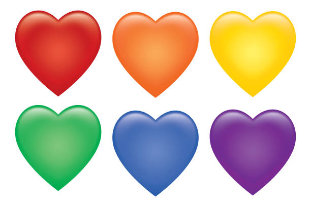 Six Colorful Shiny Hearts Set vector art illustration