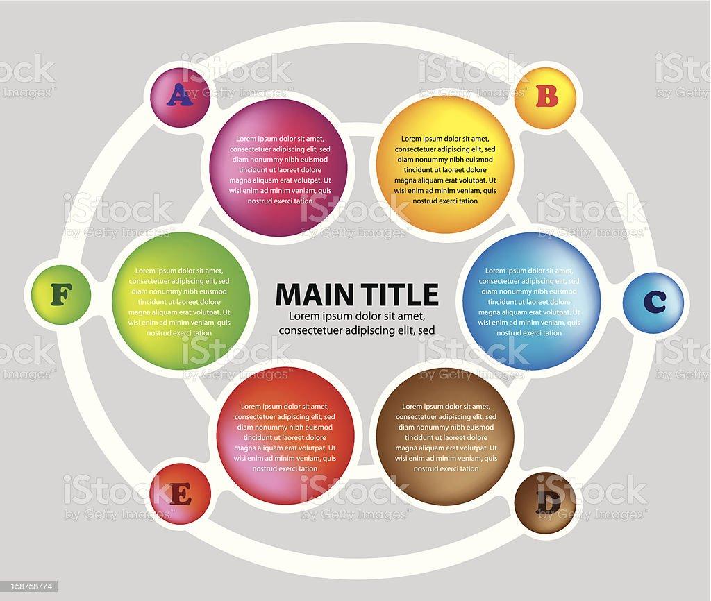 Six colors circles layout royalty-free stock vector art