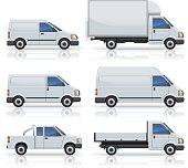 Six commercial van icons silhouetted on white