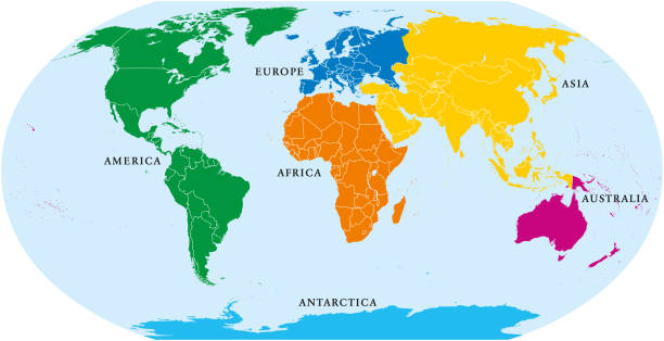 ilustraciones, imágenes clip art, dibujos animados e iconos de stock de mundo de seis continentes, mapa político - mapa de antártida