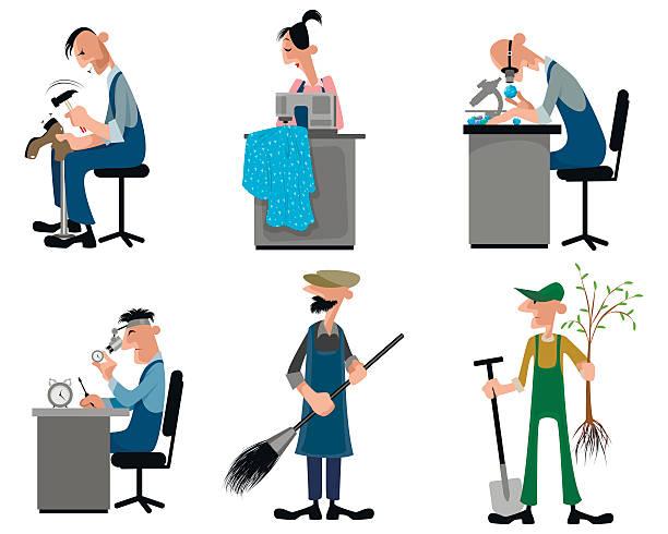illustrazioni stock, clip art, cartoni animati e icone di tendenza di six craftsman set - uomo artigiano gioielli