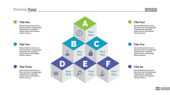 Six Cubes Pyramid Diagram Slide Template