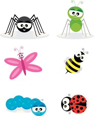 Six Cute Cartoon Insects