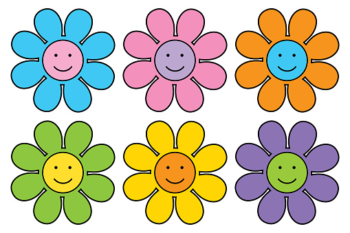 Six Cute Smiley Face Flowers