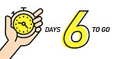 Six Days Left Countdown Vector Illustration Template