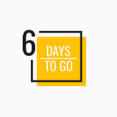Six Days left to go. Geometric banner design template for your needs. Modern flat style vector illustration.