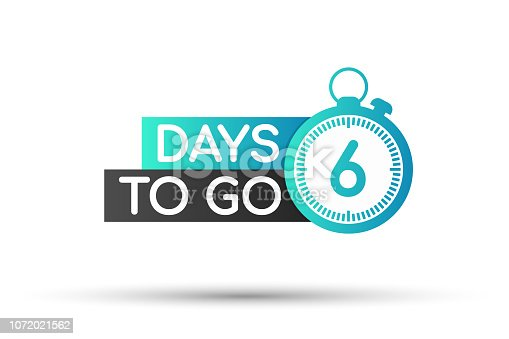 Six days to go. Flat icon. Vector typographic design. Vector stock illustration.