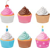 Delicious assortment of chocolate and vanilla cupcakes with white, blue, brown, pink cream and multi-colored sprinkles on top, also birthday cupcakes with burning candles. EPS 8.0, Ai CS, PDF and JPEG (5000 x 4790) are included in package.