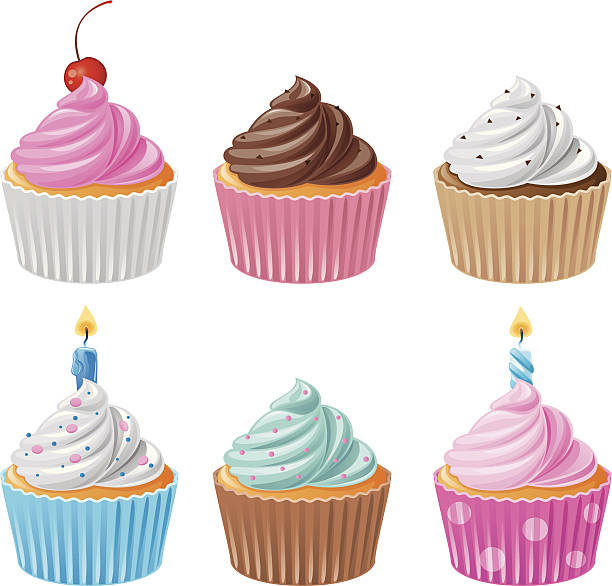 Six delicious cupcakes - Set 1 Delicious assortment of chocolate and vanilla cupcakes with white, blue, brown, pink cream and multi-colored sprinkles on top, also birthday cupcakes with burning candles. EPS 8.0, Ai CS, PDF and JPEG (5000 x 4790) are included in package. cupcake stock illustrations