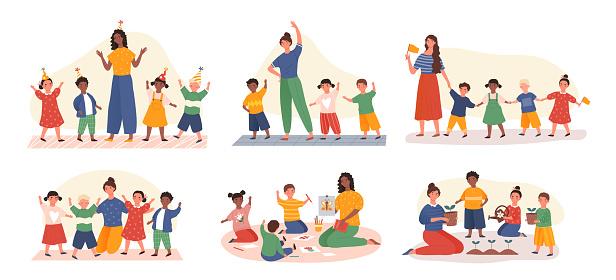 Six designs of young kids in kindergarten class