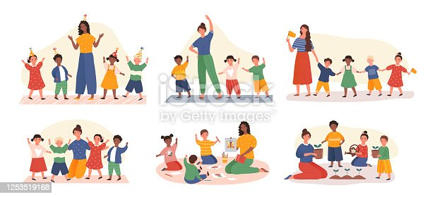 istock Six designs of young kids in kindergarten class 1253519168