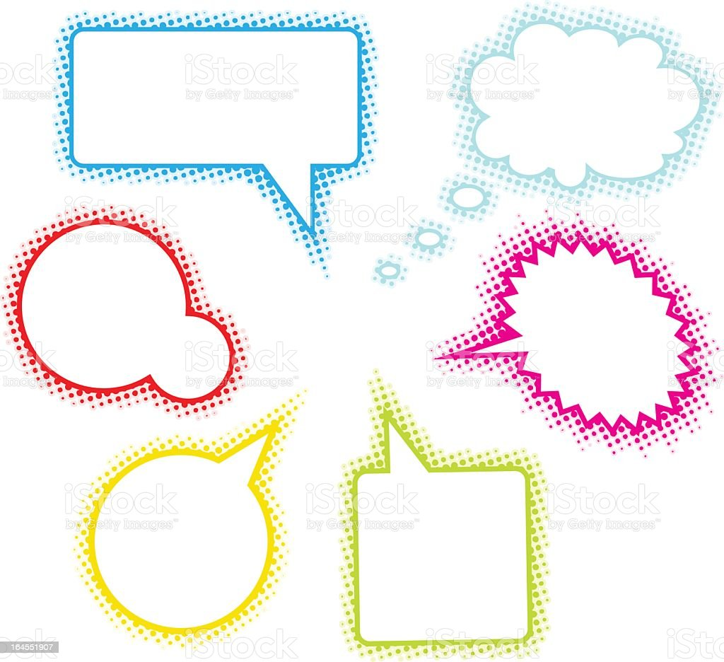 Six different color and style illustrated speech bubbles  royalty-free six different color and style illustrated speech bubbles stock vector art & more images of bubble