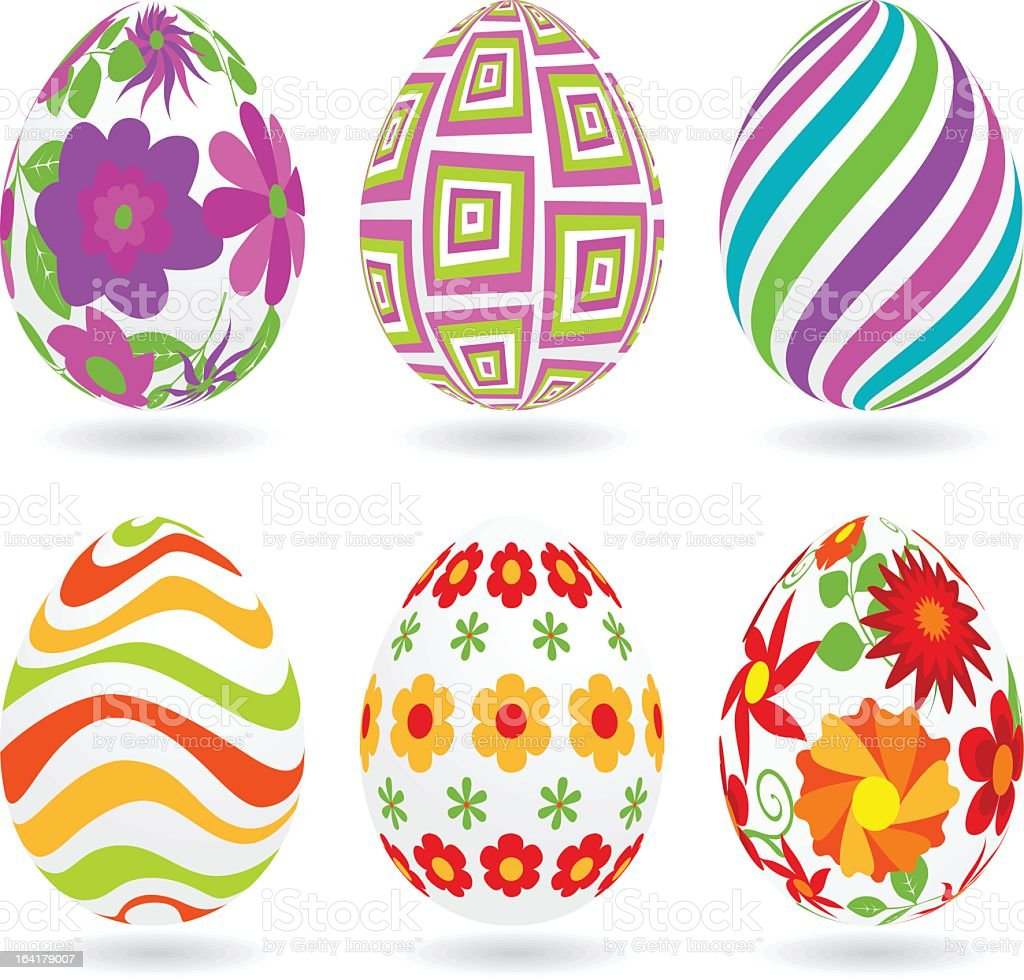 six different easter eggs with spring patterns stock vector art