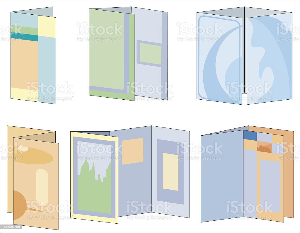 Six Different Folding Styles Multi-colored Brochure Icons royalty-free six different folding styles multicolored brochure icons stock vector art & more images of brochure