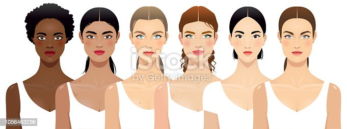 Six different women face shapes, multi-ethnic group.