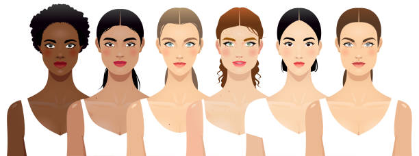 Six different women Six different women face shapes, multi-ethnic group. looking at camera stock illustrations
