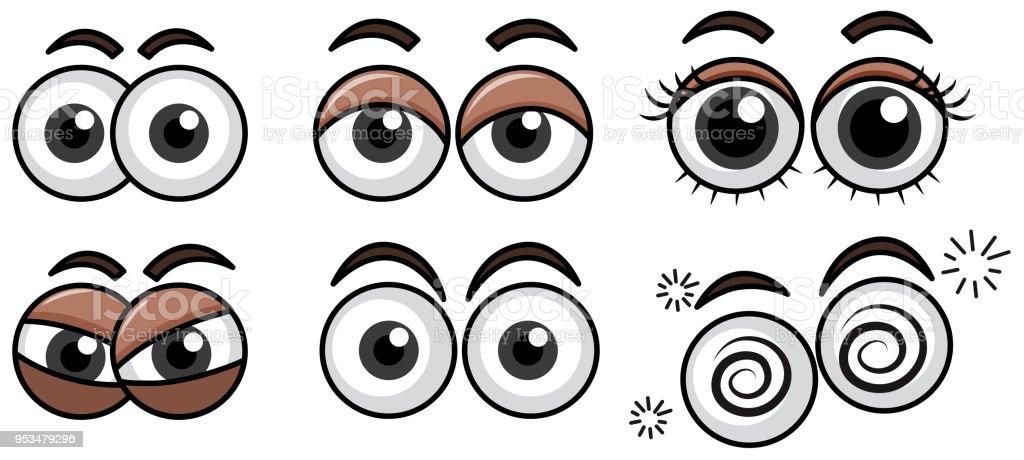 Sechs diverse Augen Ausdruck auf weißem Hintergrund – Vektorgrafik