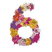 Zes cijfers gemaakt van verschillende bloemen. Floral element van kleurrijke alfabet gemaakt van bloemen.  illustratie