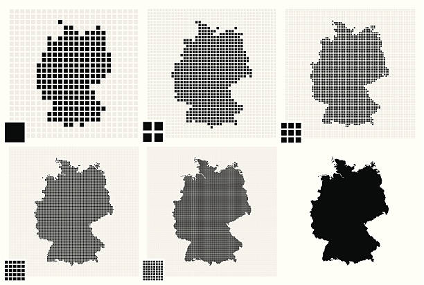 stockillustraties, clipart, cartoons en iconen met six dotted maps of germany in different resolutions - united stats halftone dots