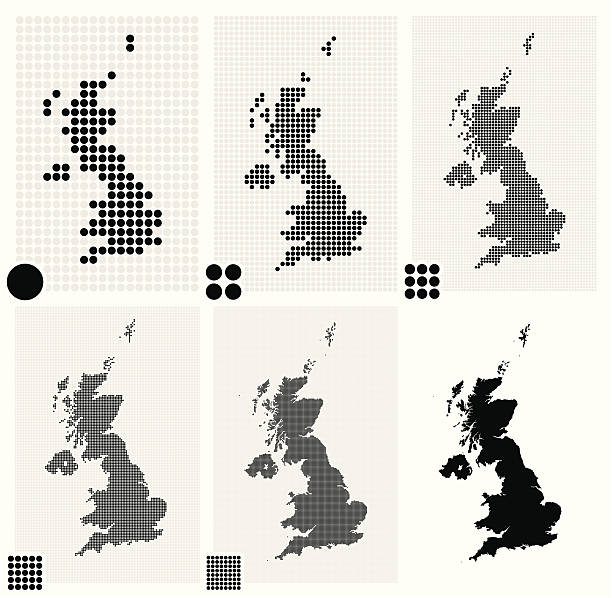 stockillustraties, clipart, cartoons en iconen met six dotted maps of united kingdom in different resolutions - united stats halftone dots