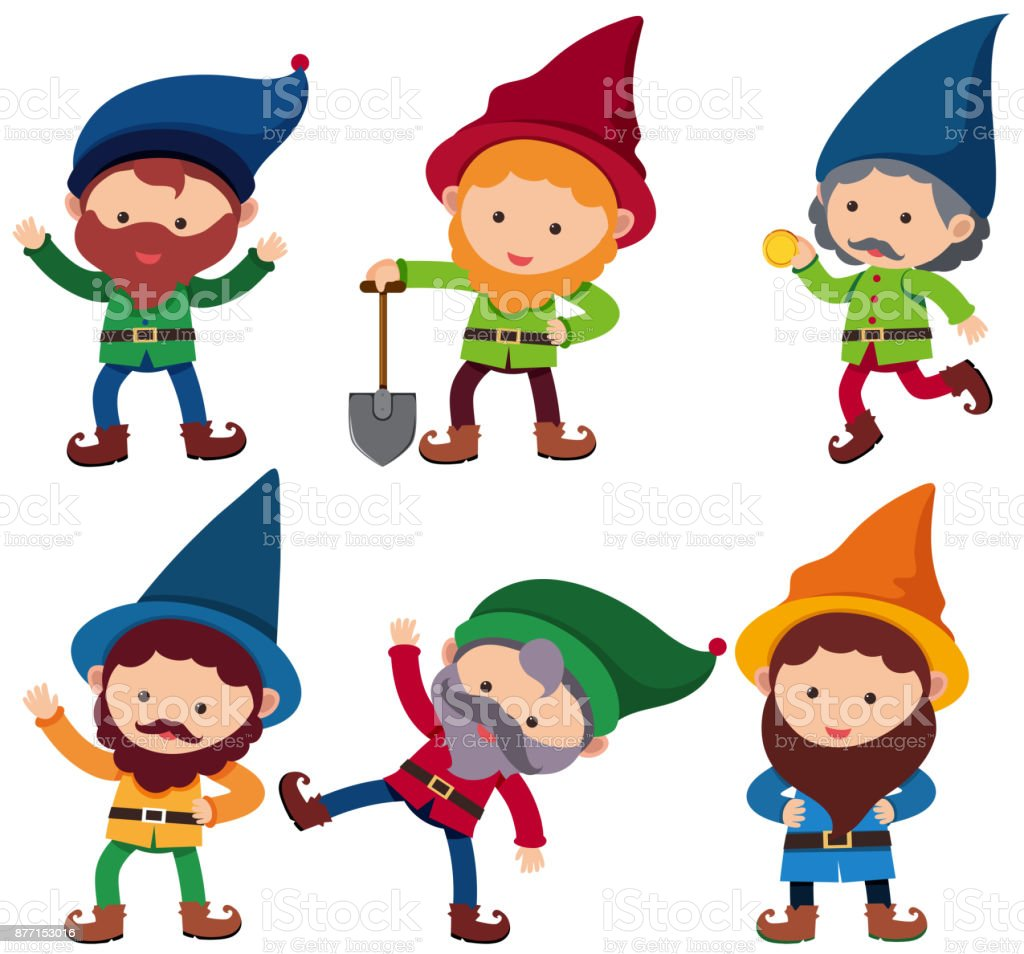 幸せそうな顔を持つ 6 人の小人 おとぎ話のベクターアート素材や画像を