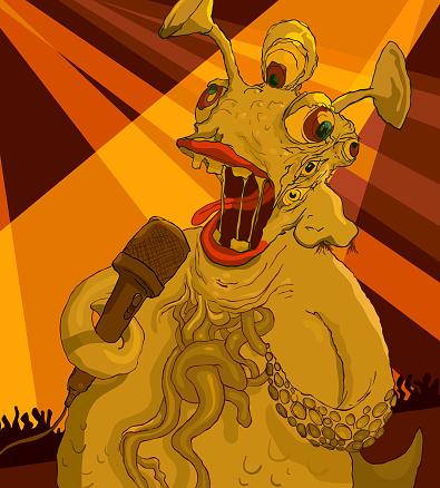 Six eyed monster singing