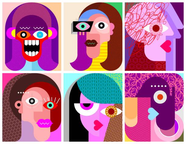 sechs gesichter / sechs zeichen vektor-illustration - landscape crazy stock-grafiken, -clipart, -cartoons und -symbole