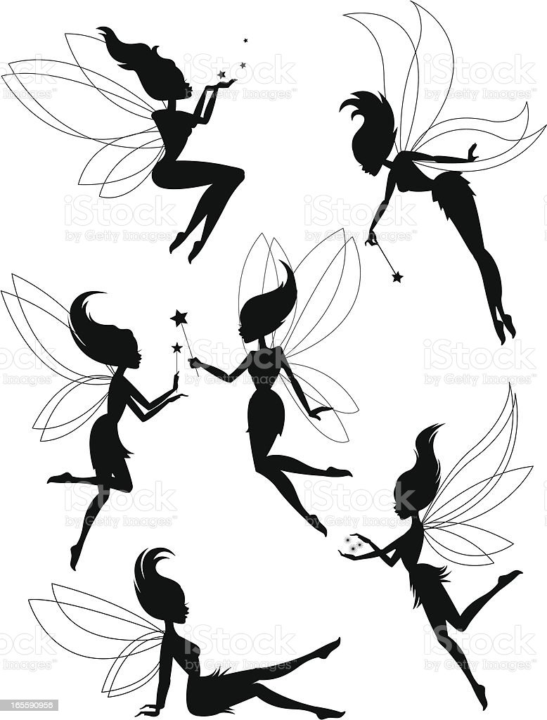 Six Fairies vector art illustration