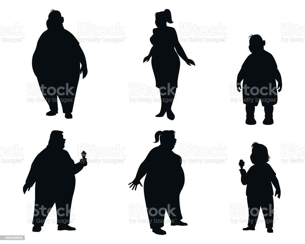 Six fat people silhouettes vector art illustration