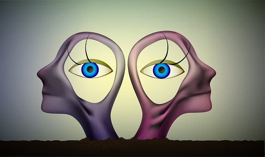 six feeling, intuition view, the same point of view idea, people heads  with eyes inside,