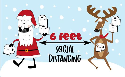 Six Feet- Social distancing - COVID-19 information vector graphics.
