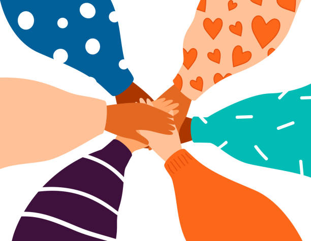 Six female hands support each other, concept of teamwork and Friendship Six female hands support each other, concept of teamwork, women power. Diverse human hands united for social freedom and peace. Friendship concept on white background confidence stock illustrations