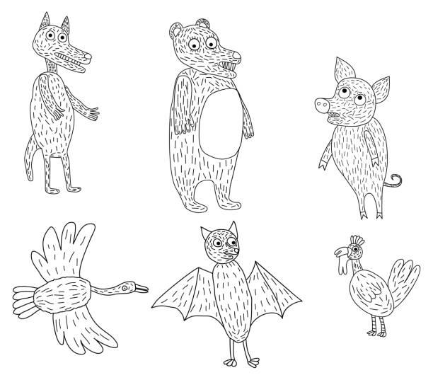 sechs lustige tiere - megabat stock-grafiken, -clipart, -cartoons und -symbole